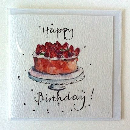 Birthday Card Birthday Cake Illustration Art by PebbleandBee