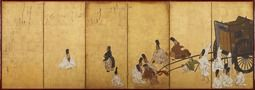 Scene from the Gatehouse (Sekiya) chapter of The Tale of Genji. Important Cultural Property. Attributed to Tawaraya Sōtatsu. Six-fold screen. Color on gold leafed paper. Edo period/17th century. Tokyo National Museum