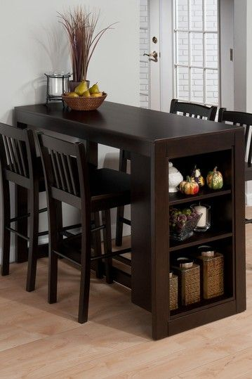 I want a dining table like this.  You could use the side shelves for cook books and such.  -   Maryland Merlot Counterheight Table by Jofran on @HauteLook