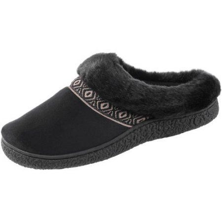 Essentials by Isotoner Women's Microsuede Haley Hoodback Slipper, Size: Medium, Black