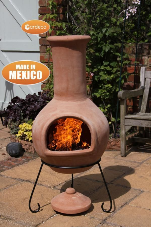 Gardeco Extra Large Colima Mexican Chiminea Natural Terracotta Wood Burning Fire Pit Chiminea Clay Fire Pit