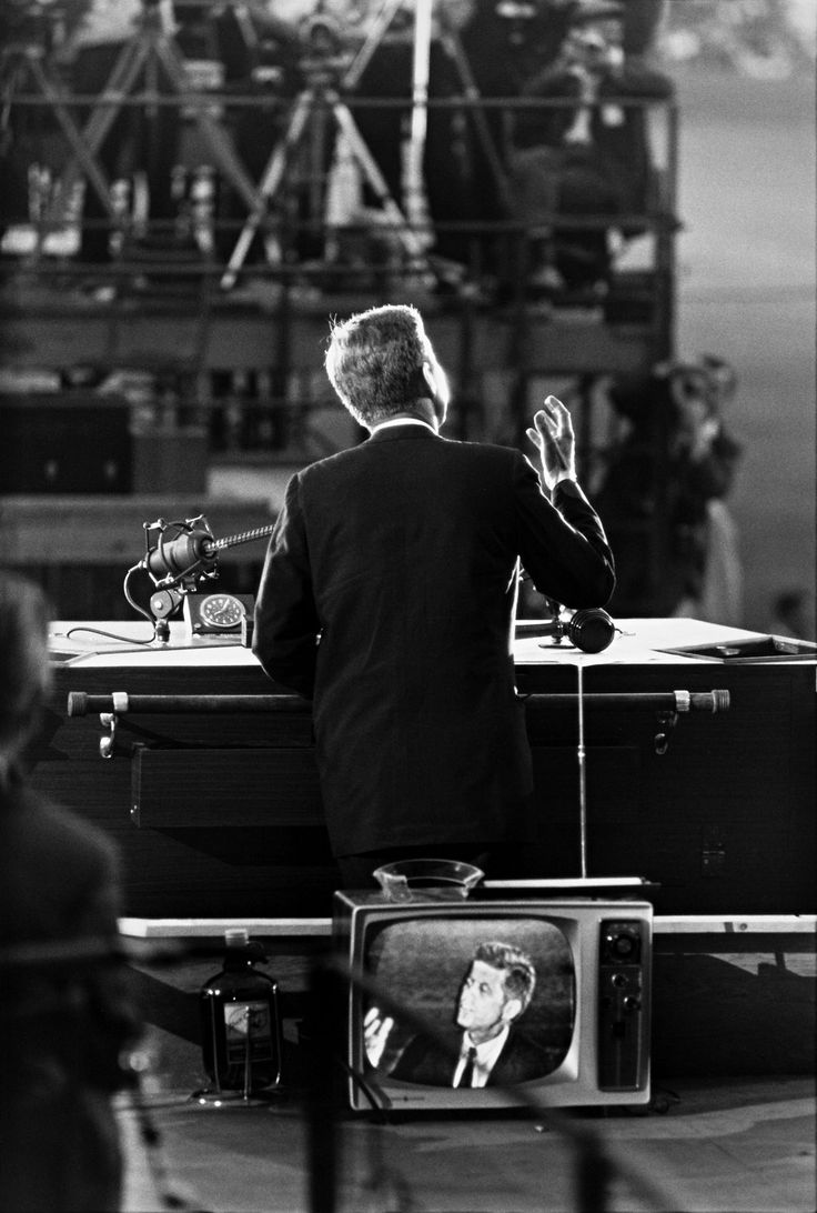 Garry Winogrand's iconic photograph of John F. Kennedy during his acceptance speech at the 1960 Democratic National Convention in Los Angeles.