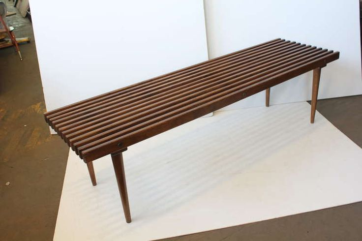 Mid Century George Nelson Style Wood Slat Bench Coffee Table Vintage Mid Century Modern And