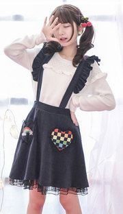 Black embroidered rainbow brace skirt