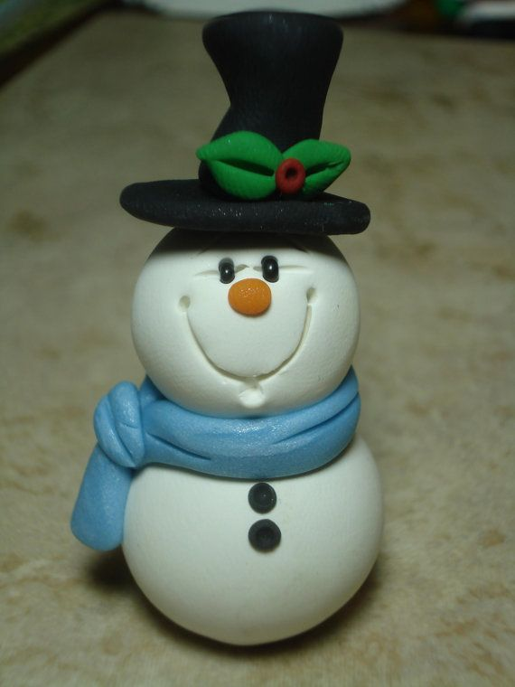 Snowman Clay Figure by ClayCreationsbyLaura on Etsy