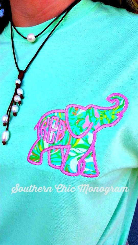 Preppy Lilly Pulitzer Elephant Fabric Monogrammed Short sleeve tshirt pocket Tee Greek Sorority Graduation Gift Bridesmaid Gift Plus Size by SouthernChicMonogram on Etsy