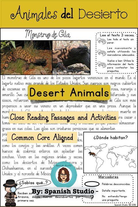 Desert Animals Spanish Close Reading Spanish Reading