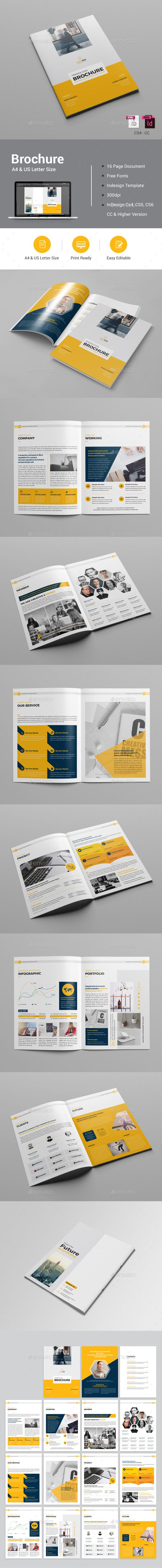 Brochure Template InDesign INDD - 16 Pages, A4 & US Letter Size #design