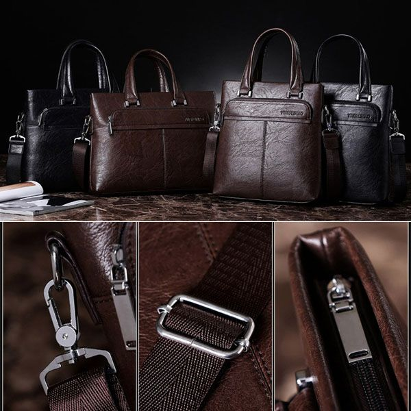 Men PU Business Crossbody Bag Outdoor Handbag Briefcase