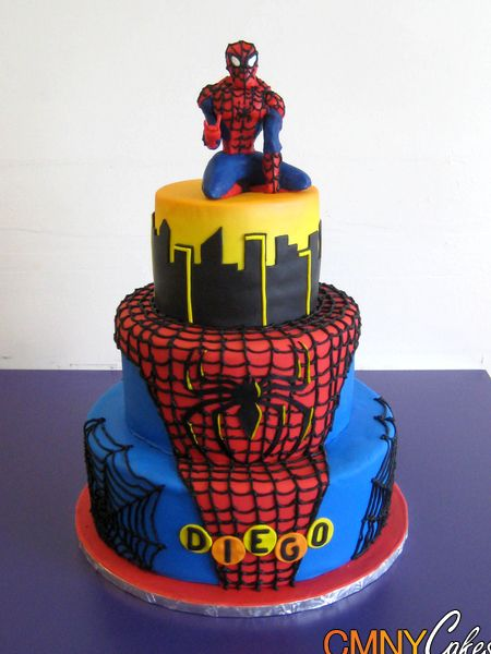 Spiderman Cake Design Pictures : Spiderman on Roof Top Cake. Wish I could make this for ...