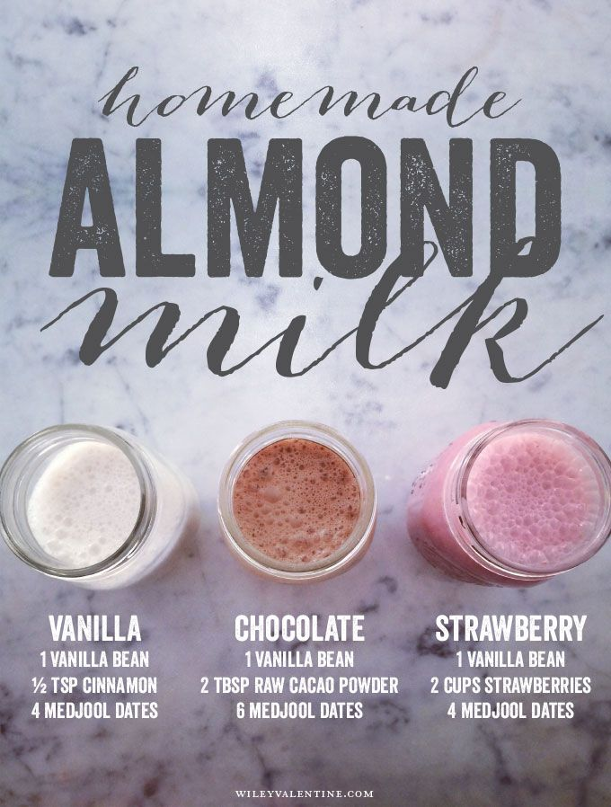 homemade flavored almond milk, no sugar