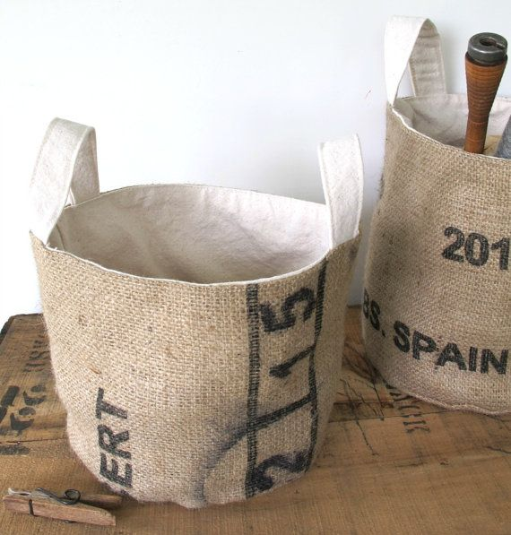 bucket made from repurposed coffee bean bags