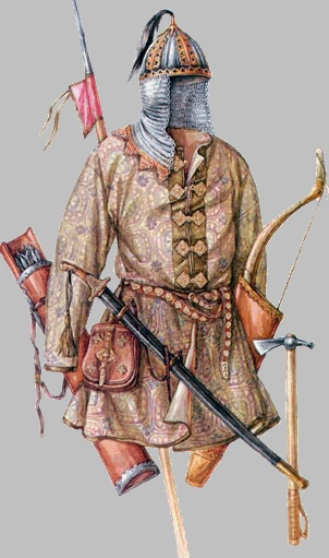 10th C. Rus, therefore typical of dress and helmet for Vasili Varcolac, founder of the Ardealeu monarchy.