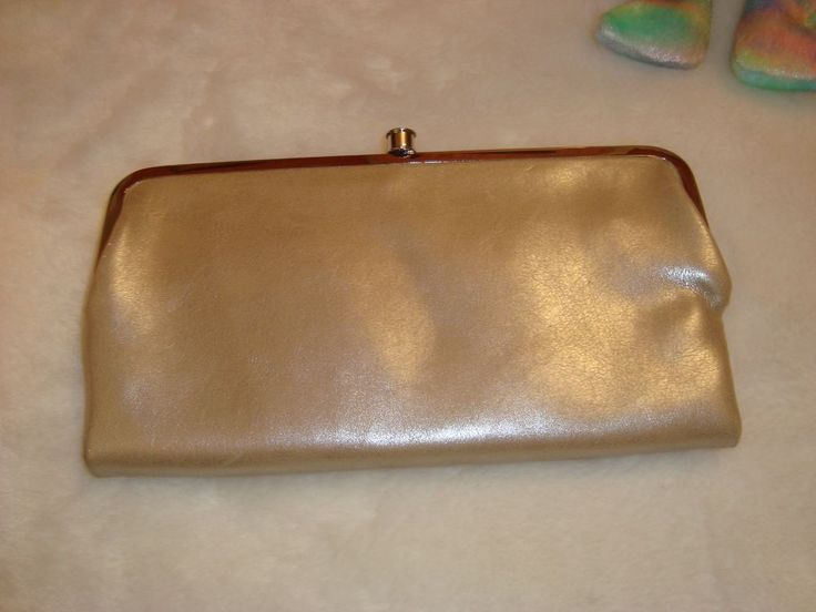 New WOT Gold Shimmer Faux Leather Fold Up Dual Pockets Clutch Bag Purple Lining #Unbranded #EveningBag