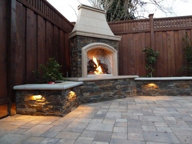 Cool Practical Outdoor Gas Fireplace: Delectable Outdoor Natural Gas Fireplace In Cool Sectional Stone Wall Overlooking With Tody Pavers Ground Also Hidden Garden Lights Decorating Ideas ~ iamsaul.com Exterior Design Inspiration