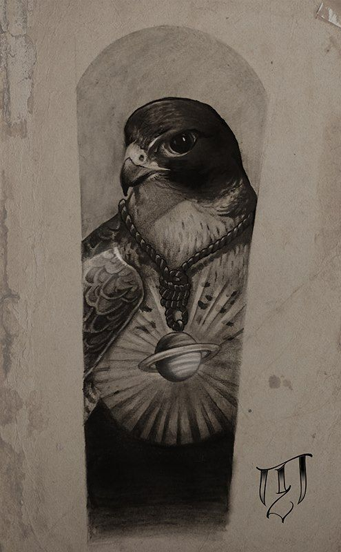 The Falcon by Tricky Niko (Paris-fr) #blackngrey #tattoo #drawing #paris #trickyniko #falcon #saturn #flash #french #frenchtattooartist #matierenoi…