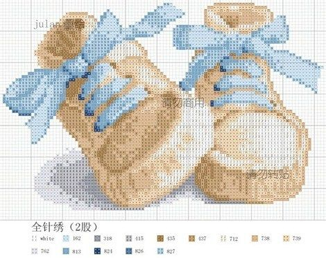 blue baby shoes cross stitch - Am thinking I could make the bows pink for a girl...