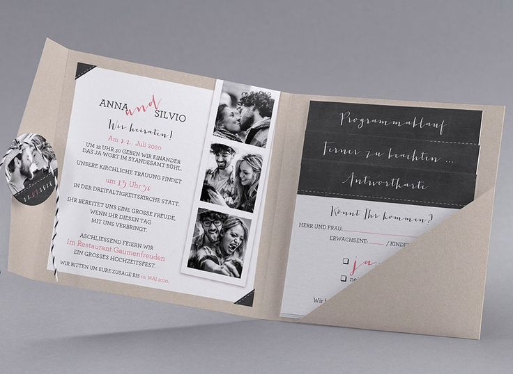 Hochzeitskarte Emma M40-001 - Kollektion Trendy - kreative-hochzeitskarten.com