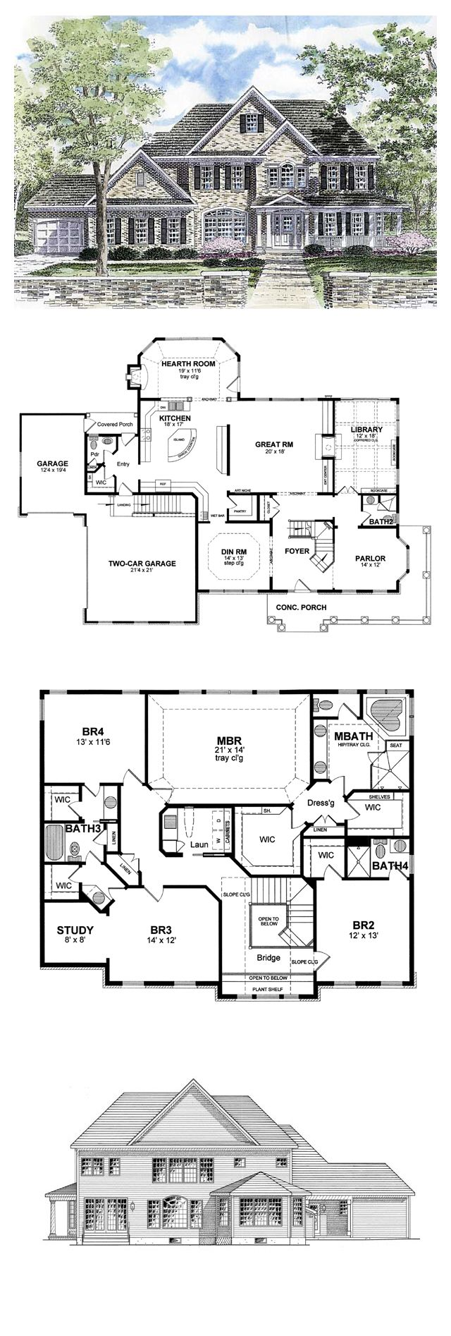 Cool house plan id chp 44788 total living area 3859 sq for Coolhouseplan com