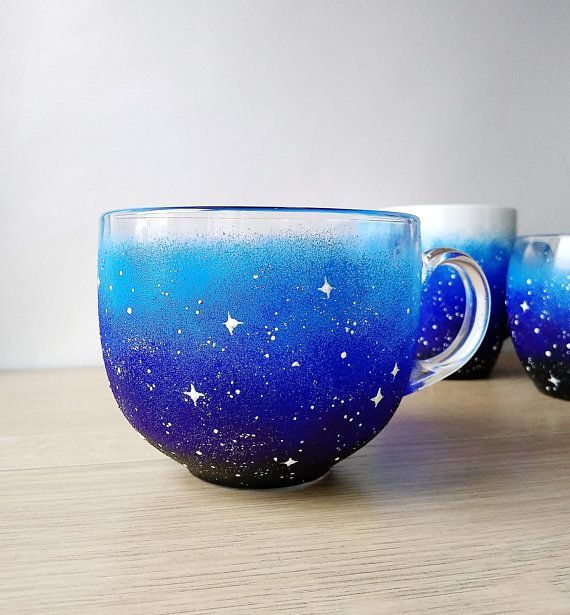 Galaxy Coffee Mug Cosmic Lover Gift Starry Night Large Mug Custom Blue Jumbo Mug Painted Glass Big Tea Cup Teacups In 2020 With Images Glass Tea Cups Mugs Coffee Mugs Vintage