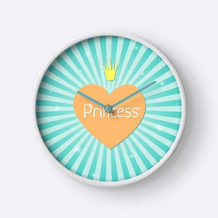 Cute clocks on Redbubble. Designed by Luna Princino. #lunaprincino #home #decor #clock #clocks #design #princess #heart #crown #stripes #sunburst #pretty #dreamy #girlish #beautiful #turquoise #teal #orange #sparkle #redbubble #gift #idea #for #girls #print #prints #interior