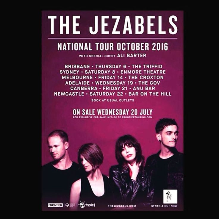@thejezabels AUSTRALIAN TOUR ANNOUNCEMENT!!! with special guest @alibarter (except ) Sat Sept 17 - WA - #rottnestisland #Rottofest   Sat Oct 1 - NSW - #Wollongong @yoursandowls   Thu Oct 6 - QLD - #Brisbane @thetriffid  Sat Oct 8 - NSW - #Sydney @enmore_theatre  Fri Oct 14 - VIC - #Melbourne @thecroxtonbandroom  Wed Oct 19 - SA - #Adelaide @thegov  Fri Oct 21 - ACT - #Canberra ANU Bar Sat Oct 22 - NSW - #newcastlensw @baronthehill  Head to www.thejezabels.com for more info & ticketing…