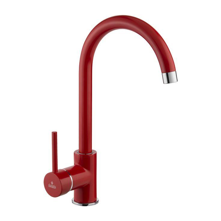 Milin - red kitchen mixer, Deante.