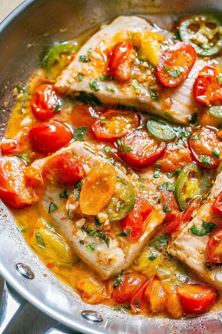 Pan-Seared Tilapia in Tomato Basil Sauce