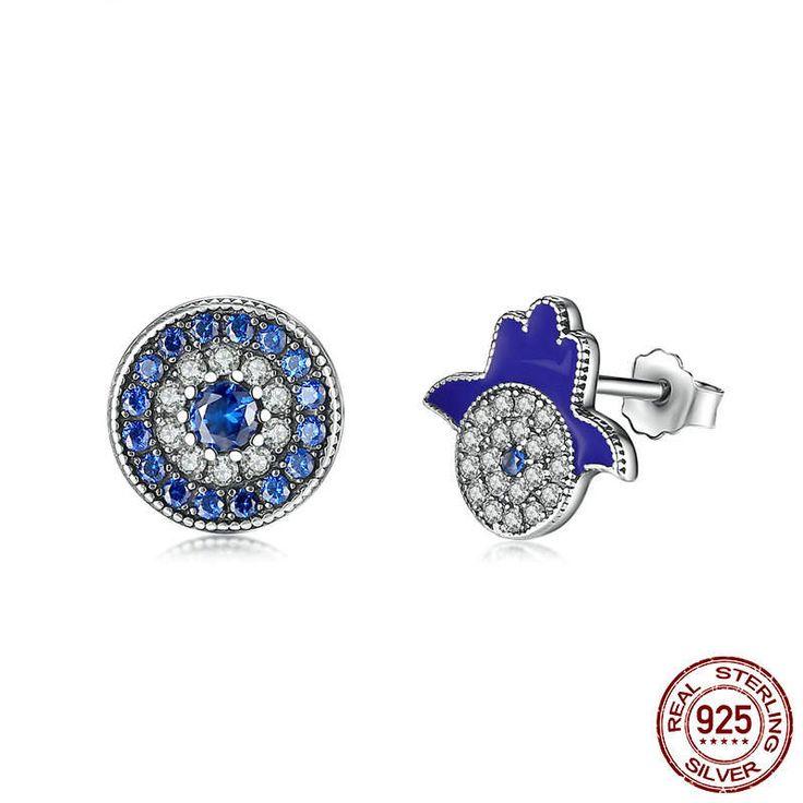 Samsara & Khamsa Orecchini zirconi chiari e blu e smalto blu 100% Argento sterling 925 Per donne di classe originali gioielli regalo CE042 di OceanBijoux su Etsy