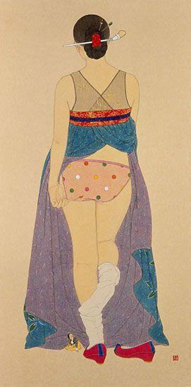 "Shin Sun-Mi ~ ""Secret 1"" (2008) painting on Korean paper, 138 x 68 cm via suncontemporary.com 갤러리 선 컨템포러리"