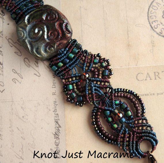Raku Colors Beaded Micro Macrame Bracelet by KnotJustMacrame.