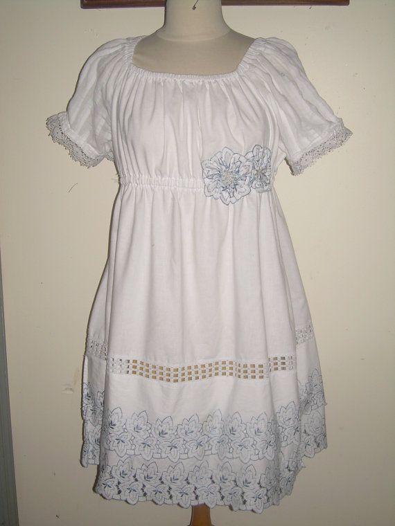 Custom+Women's+Peasant+Dress+Beach+White+by+ibelieveicandesigns,+$100.00