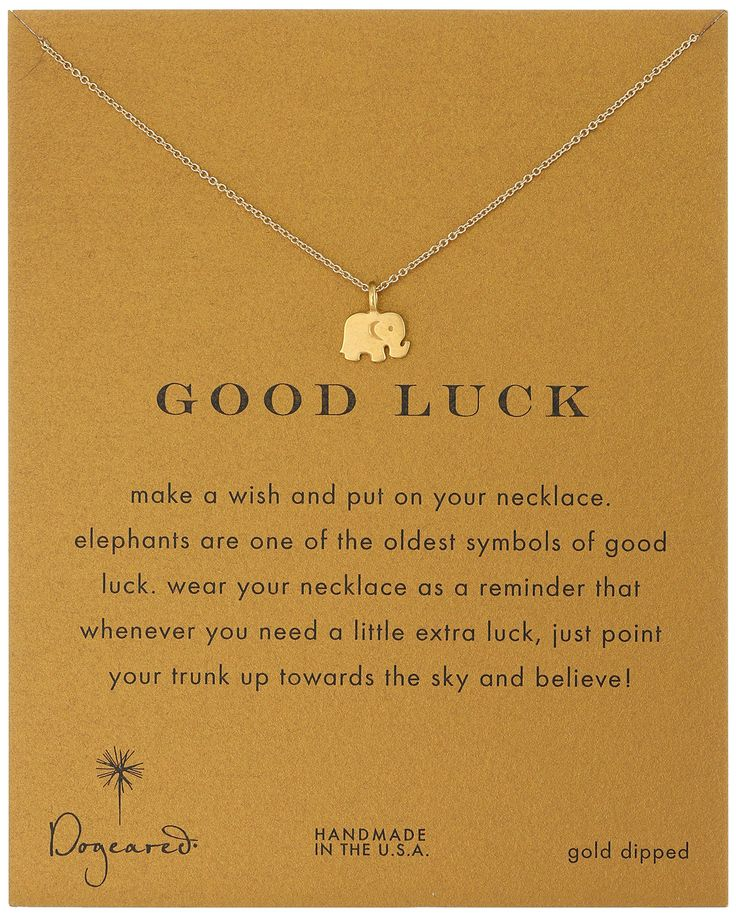 """Dogeared Reminder """"Good Luck"""" Gold-Plated Sterling Silver Elephant Pendant Necklace, 16"""""""