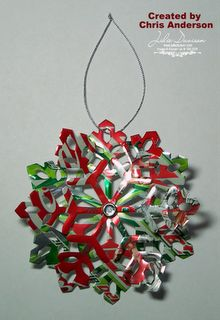 "Recycled Soda Cans Made Into ""Snowflake"" Christmas Ornaments Using Sizzix Machine"