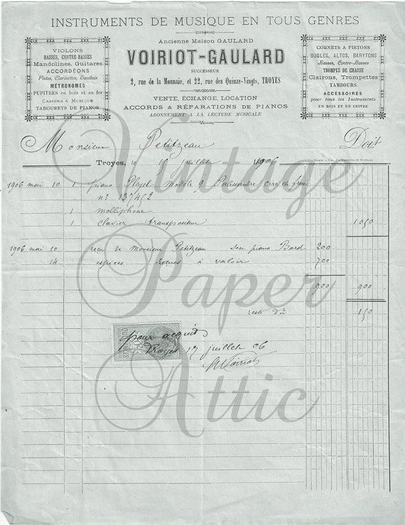 Best Antique French Documents Images On Pinterest Vintage Paper - How to create and invoice vintage online stores