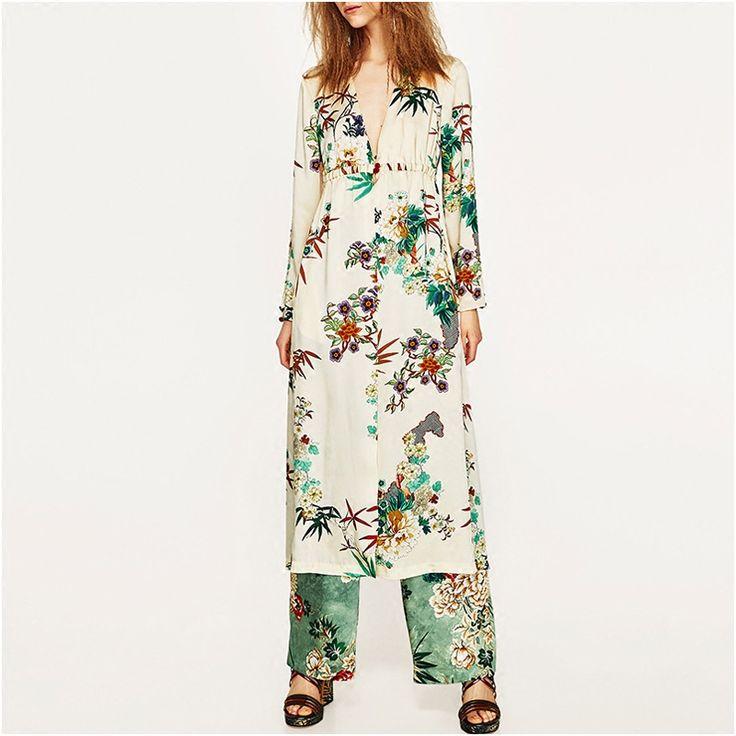 >> Click to Buy << SexeMara New 2017 Summer Fashion Europe women's long trench printed casaco feminino kimono long sleeve sobretudo #Affiliate
