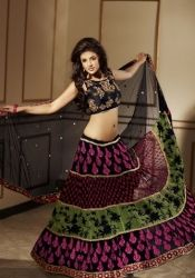 Aesthetic Aloe Vera Green Black Brick Red And Deep Pink Embroidered Saree