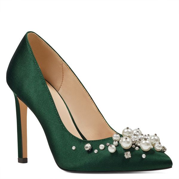Nine West Taylin Pointy Toe Pumps ($99) ❤ liked on Polyvore featuring shoes, pumps, green, high heeled footwear, high heel stilettos, green high heel pumps, sparkly pumps and green pumps