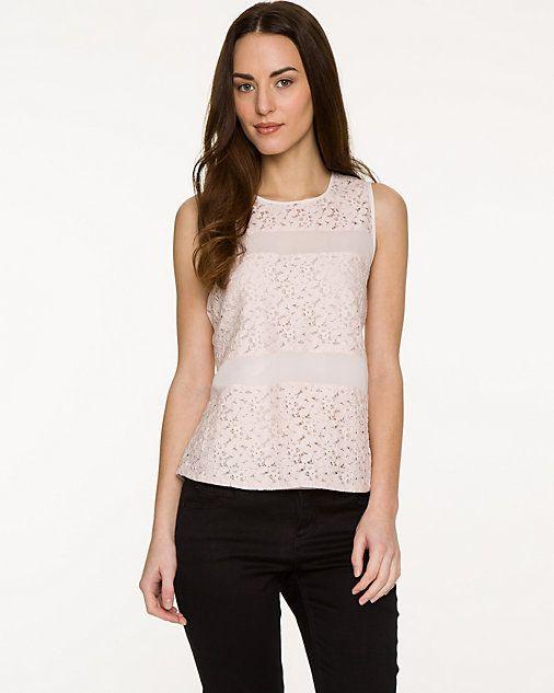 Lace & Chiffon Sleeveless Blouse - Delicate lace inserts define this chiffon…