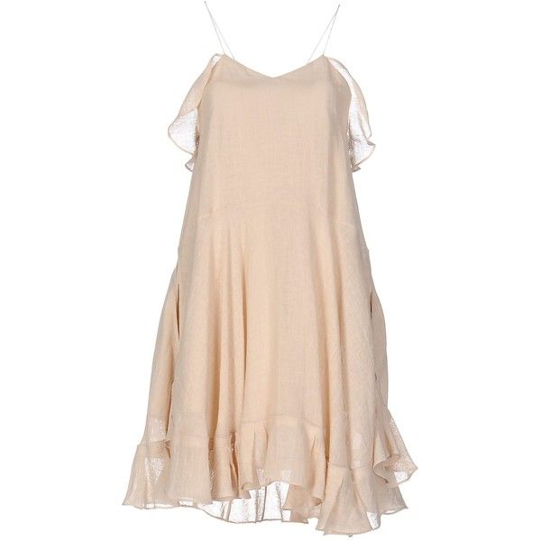 Chloé Knee-length Dress (57,145 PHP) ❤ liked on Polyvore featuring dresses, beige, pink linen dress, beige cocktail dress, pink knee length dress, pink sleeveless dress and knee length cocktail dresses