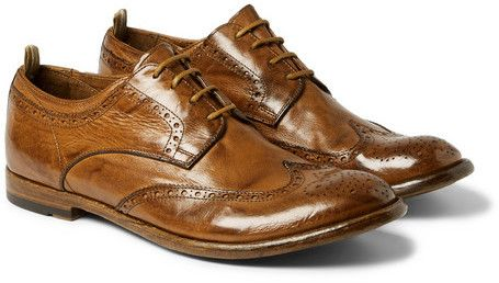 $695, Anatomia Glossed Leather Brogues by Officine Creative. Sold by MR PORTER. Click for more info: http://lookastic.com/men/shop_items/143420/redirect