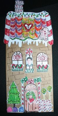Gingerbread house from brown paper bag, free printable