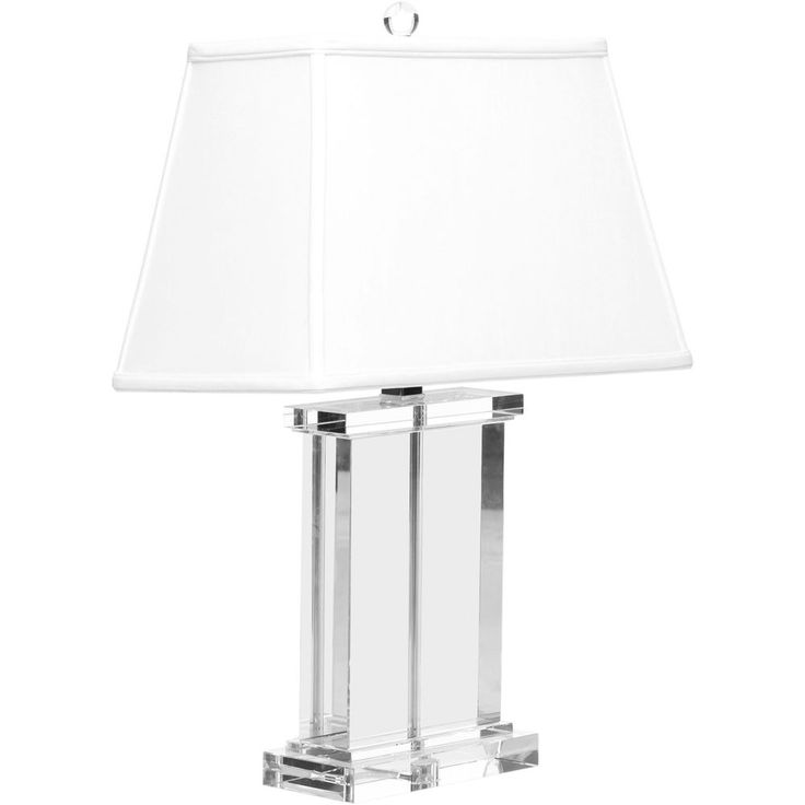 Crystal rectangle table lamp column desk light clear fabric shade chrome finish