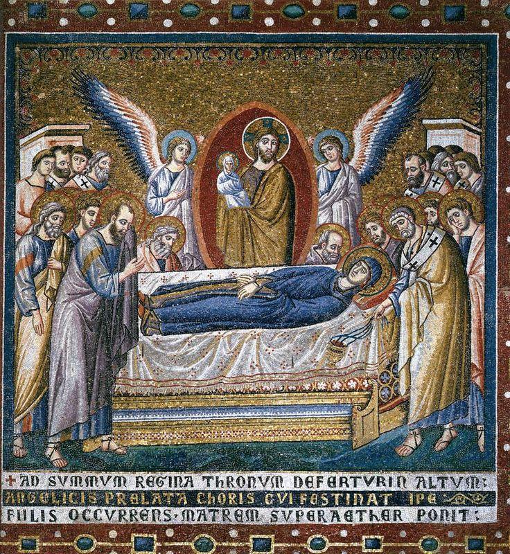 Cavallini, Pietro. Dormición de la Virgen.  1296-1300. Santa Maria in Trastevere, Rome. Cristo en esta iconografia está de pie junto a sus discípulos para recoger el alma de su Madre, en forma de niña desnuda, y portarla a los cielos con la ayuda de los ángeles.