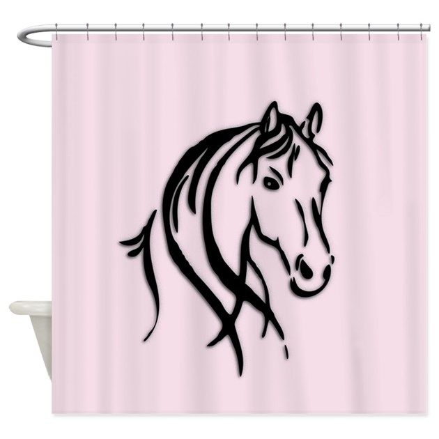 Black Horse Head Pink Shower Curtain   | Home
