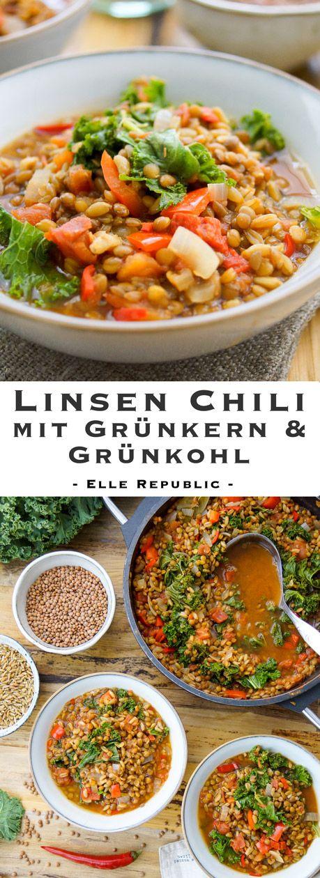 Dieses Linsen Chili ist ein perfektes Wohlfühlgericht, das auch am Tag danach noch gut schmeckt. Einfach, voller Aromen und voll gepackt mit Nährstoffen.   Ein einfaches Rezept für Linsen Chili mit Grünkern und Grünkohl. Ein Eintopf, der variiert werden kann mit Süßkartoffel, Mais oder dem Superfood Quinoa. (Glutenfrei)