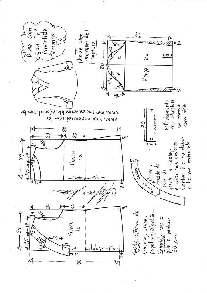 Blusa com decote V e gola invertida | costura | Pinterest | Costura ...