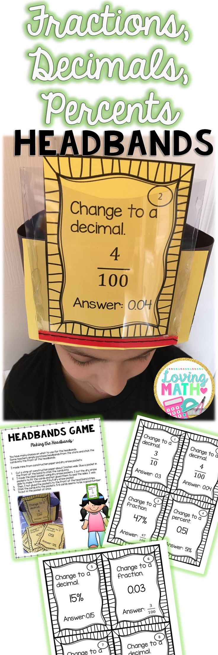 Practice Fractions, Decimals,Percents with this SUPER fun Headbands Game!
