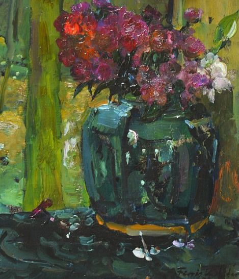 Ginger Jar with Climbing Roses and Phloxes (1909) - Floris Verster