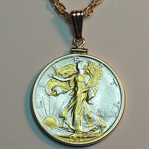 Old U.S. Walking Liberty half dollar 2-Toned Gold and Silver coin Necklace